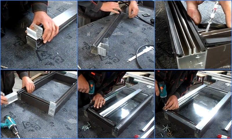 сборка алюминиевого оконного профиля