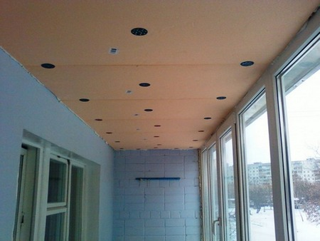 утепление потолка на лоджии