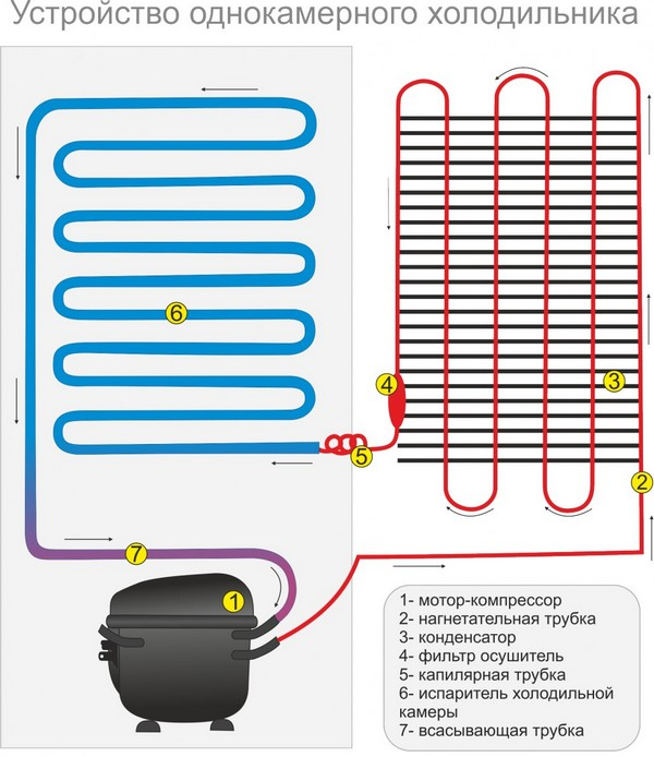 схема однокамерного холодильника