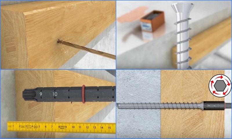 крепеж деревянного бруса винтами