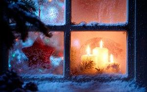 рисунки на окнах к новому году