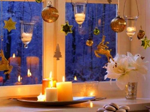 как оформить окна на новый год