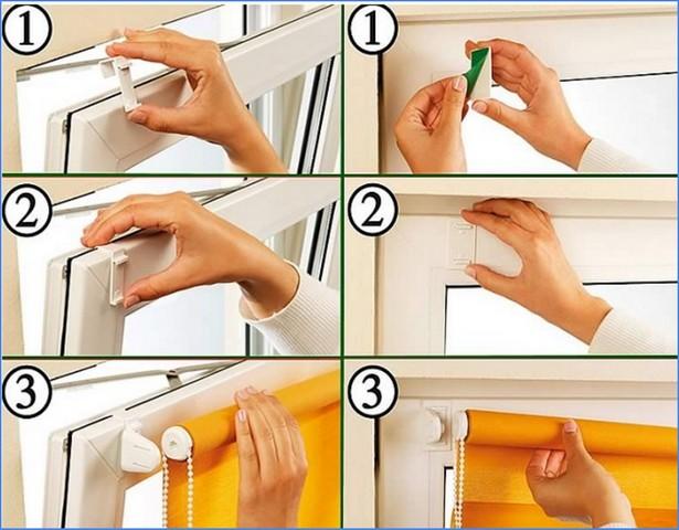 как повесить рулонную штору
