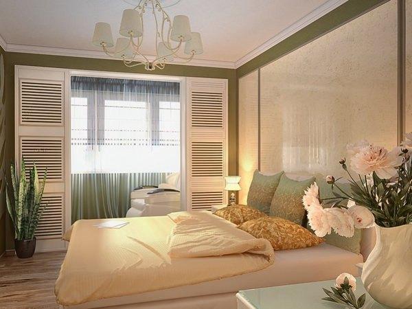 дизайн совмещенного балкона с спальней