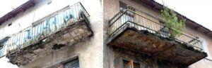 разрушенный балкон