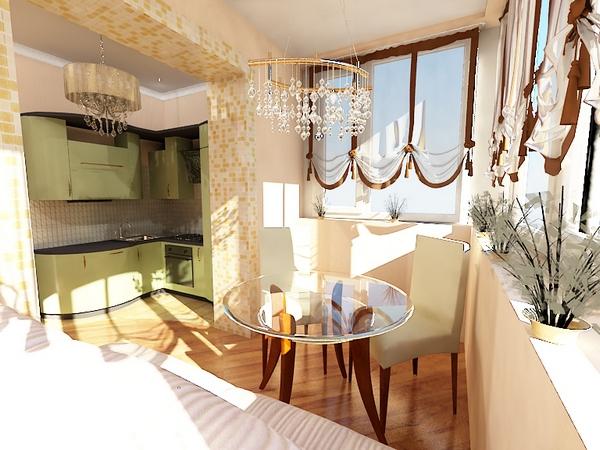 стеклянный стол на балконе