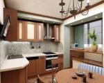 Дизайн кухни совмещенной с балконом-2