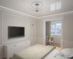 Интерьер спальни с маленьким балконом